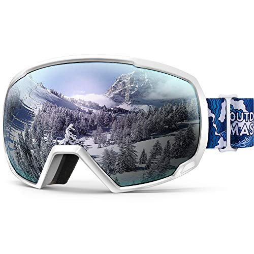 OutdoorMaster Premium Skibrille, Snowboardbrille Schneebrille OTG 100% UV-Schutz, Helmkompatible Ski Goggles für Damen&Herren/Jungen&Mädchen(Weißer Wellenrahmen + VLT 12% Silber Linse)
