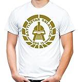 Battlestar Galactica Männer und Herren T-Shirt | Spruch Vintage Cylon Geschenk | M2 (L, Weiß)