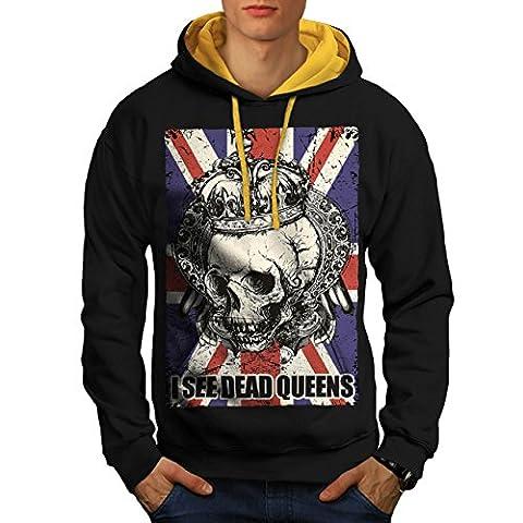 Schädel Tot Königin Metall Vereinigtes Königreich Skelett Vereinigtes Königreich Herren M Kontrast Kapuzenpullover | Wellcoda