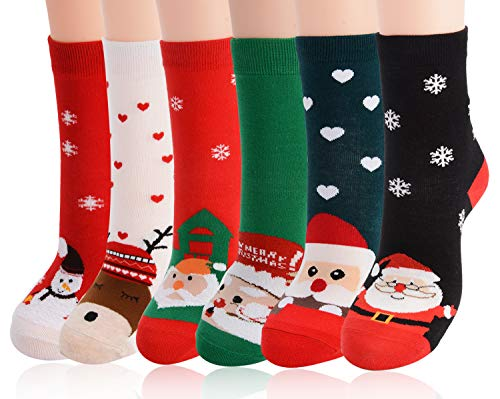 Fascigirl 6 Paare Weihnachtssocken Damen Kuschelsocken Weihnachten Socken Lustige Winter Warme Bettsocken Adventkalender Socken Christmas