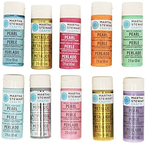 Martha Stewart Crafts Multi-Surface Pearl & Metallic Acrylic Craft Paint Set (2 Ounce) - 10 Colors by Martha Stewart Crafts
