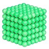 Elsatsang Puzzles 3D, Juguetes de la Descompresión-Cubo de Bolas Magnéticas, Puzle de Bolas de Neodimio(Verde Fluorescente)