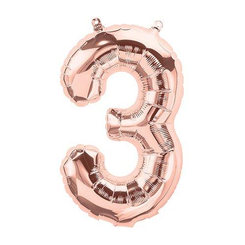 NorthStar Balloons-Ballon Aluminium Chiffre 3 Rose Perlé De 41Cm Non Gonflé