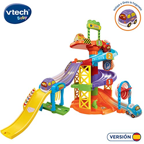 VTech- Aparcamiento TutTut Bólidos Parking Interactivo, Incluye a Greta la Furgoneta (80-152722), 23.9 x 23.9 x 14.2 (3480-152722)