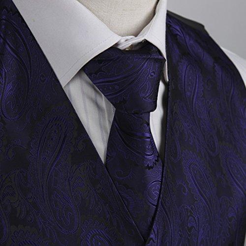 EGD1B.01 Serie modello microfibra dello smoking del vestito della maglia cravatta al collo Set Mens di Epoint EGD1B03D-Viola Nero
