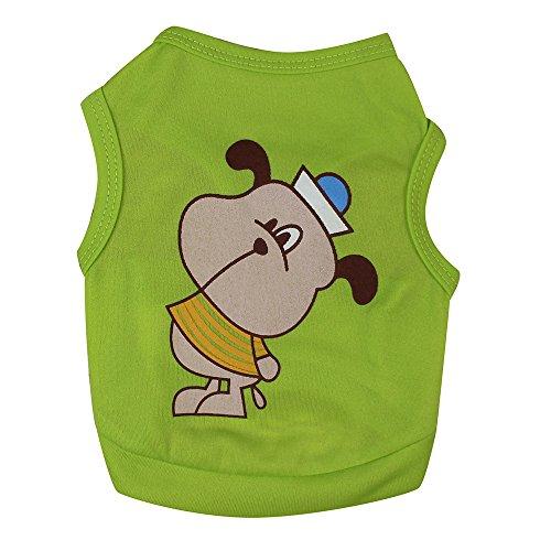 Hawkimin Kleine Haustier Hund Weste, Nettes Einfarbig Karikatur Muster Polyester Sommer Erfrischend Welpe Bekleidung T-Shirt Hundekleid
