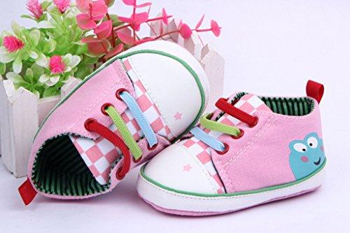 Bigood Liebe Baby Schuh Krabbelschuhe Baby-Mädchen Lauflernschuhe Bunt Band Deko 13 Schwarz Pink