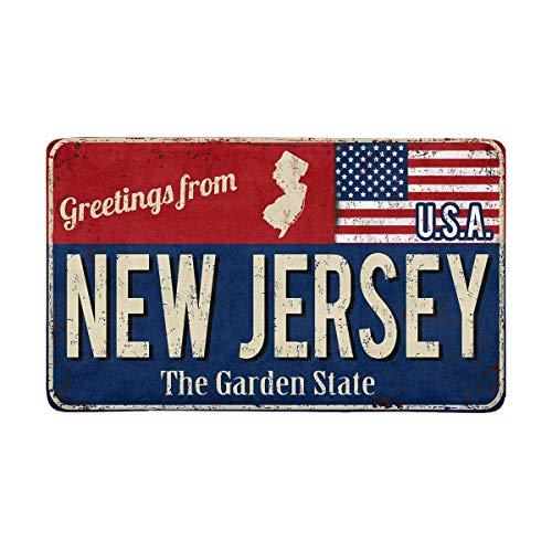 LIS HOME Vintage Grüße aus New Jersey The Garden State mit amerikanischer Flagge Fußmatte Indoor Outdoor Eingang Teppich Fußmatten Schuhabstreifer Fußmatte