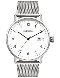 Gigandet Quarz Herren-Armbanduhr Minimalism Uhr Datum Analog Edelstahlarmband Silber G26-005