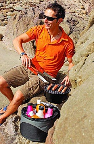 51TN7Zecg7L - Grill-Eimer Holzkohlegrill für Garten Terrasse Camping Festival Picknick Party BBQ Barbecue 25,4 cm
