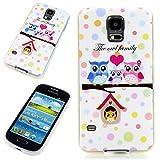 Handy Lux® Schutz Hülle Etui Silikon TPU Case Cover Design Motiv für Samsung Galaxy S3 mini - Family Eule