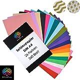 OfficeTree Carta Velina Colorata A4 per Decorazioni Creative Lavoretti per Bambini e Adulti | Semitrasparente in 20 Colori Diversi | 300 Fogli
