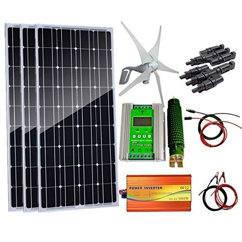 AUECOOR 700W Wind-Solar-Generator-Kit: 400 W Windturbinen-Generator & 3 Stück 100 W Solarpaneele + 1000 W 12 V-110 V /220 V / 230 V reiner Sinus-Wechselrichter & Hybrid-Controller -