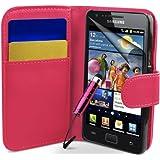 Supergets® Schlichte Einfarbige Hülle für Samsung I9100 Galaxy S2 Brieftasche in Lederoptik, Schale mit Karteneinschub, Etui, Buchstil Geldbörse, Mit Schutzfolie, Mini-Eingabestift ( Nicht geeignet für Galaxy S3 oder Galaxy S4 )