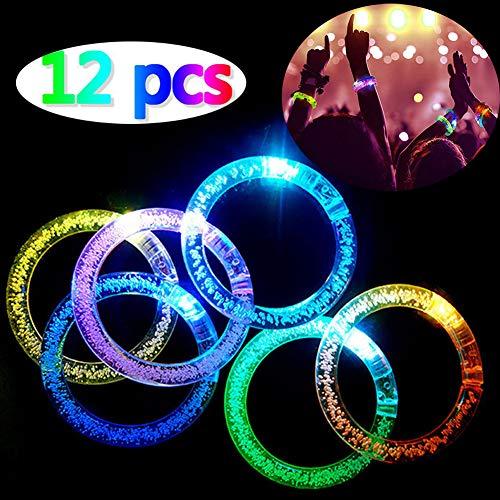 LED blinkende Armband Set Leuchtstäbe Leuchtstab Leuchtstab 6 Farbe 12 STK Licht Armbänder, Fluoreszenz Stick Acryl Armreif Blinklichter Armbänder für Kindergeburtstag, Disco Halloween Weihnachten