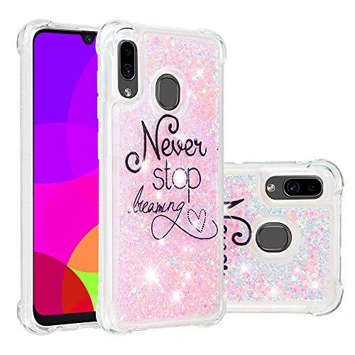 Miagon Flüssig Hülle für Samsung Galaxy M20,Glitzer Weich Treibsand Handyhülle Glitter Quicksand Silikon TPU Bumper Schutzhülle Case Cover-Rosa Traum