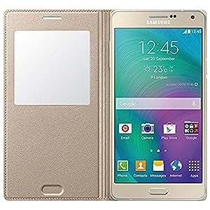 ROKAYATM SView Window Leather Flip Case Cover for Samsung Galaxy J3,GOLDEN