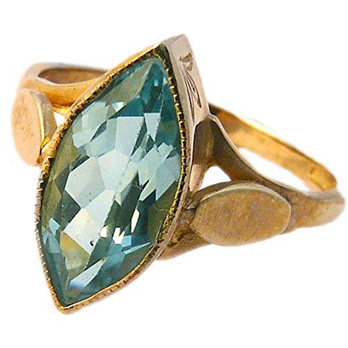 9ct Gold Blautopas Marquiseschliff/Vintage Viktorianischer Stil Kleid oder Cocktail Ring