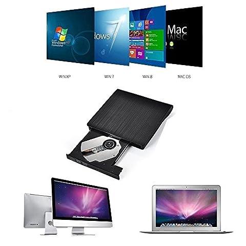 Ammiy® USB3.0 DVD-RW DVD/CD Brenner Slim extern Laufwerk Portable(tragbar) DVD CD Brenner, 9,5mm Chip,Superdrive für alle Laptops/Desktop z.B Lenovo,Acer,Asus; PC unter Windows und Mac OS für Apple Macbook, Macbook Pro, MacbookAir, iMac (Schwarz)