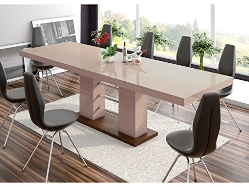 H MEUBLE Table A Manger Design Extensible 160 ÷ 210 ÷ 260 CM X P : 89 CM X H: 75 CM – Cappuccino