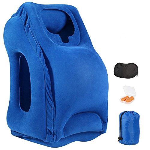 Almohada de viaje Almohada inflable del recorrido, con los enchufes de oído, la máscara de ojo y el bolso que lleva, diseño para el aeroplano, conmute el transporte, el acampar o la oficina Napping