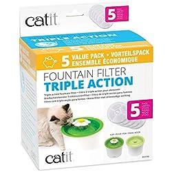 Catit Pack de 5 Filtres à Triple Action 2.0 pour abreuvoir pour chat