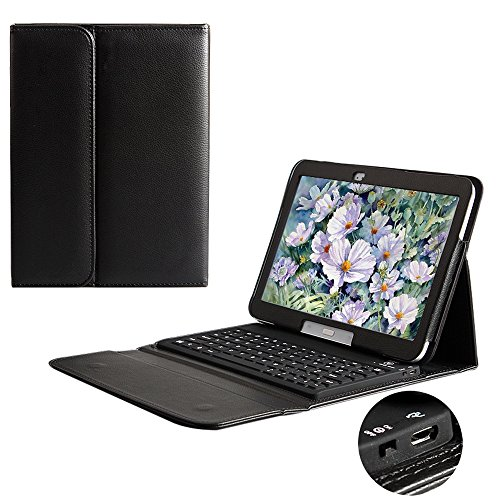 Preisvergleich Produktbild BORIYUAN Leder Case Hülle Schutztasche mit Bluetooth Tastatur (Deutsch Qwertz) speziell für Samsung Galaxy Tab 4 10.1 T530 T531 T535 Displayschutzfolie und Stylus inklusive