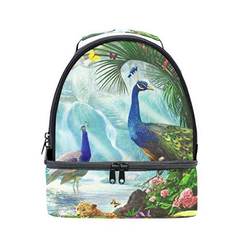 tizorax Wald Tiere Pfau Cheetah Lunch Bag Isolierte Lunch Box Picknick Tasche Schule Kühltasche für Männer Frauen Kinder -
