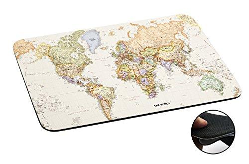 Alfombrilla antideslizante para el ratón. Motivo mapamundi 178–Diseño portátil Macbook - Alfombrilla fina de piel TPU 3mm.