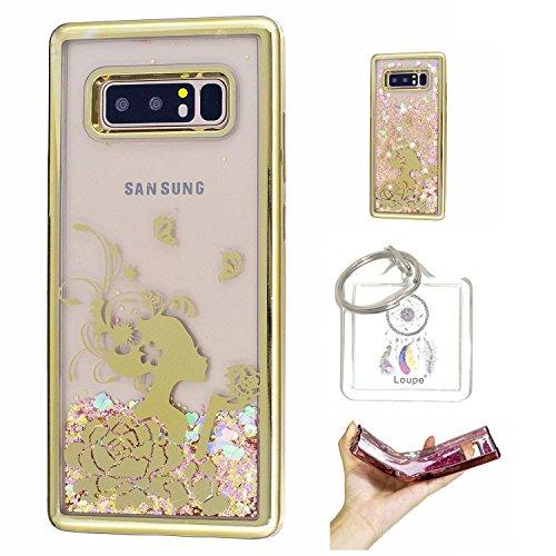 Preisvergleich Produktbild Hülle Galaxy Note8 (6,3 Zoll) Hülle Transparent Hardcase,3D Galvanotechnik TPU Kreative Liquid Bling Hülle Case Für Galaxy Note8 (6,3 Zoll) ,Dynamisch Kristall Handytasche + Schlüsselanhänger (R) (2)
