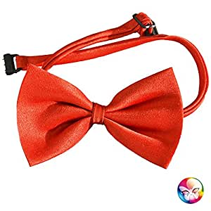 Aptafêtes - AC1252/ROUGE - Noeud papillon simple rouge attache reglable - 100% polyester - 12 x 6.5 cm