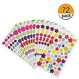 KESOTO Bunte Aufkleber Selbstklebend Sticker für Kinder, Stern + Herz + Rund (72 Blätter, ca. 4800 Stück)
