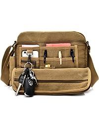 MeCooler Men's Canvas Weekender Messenger Bag for Travel Crossbody Sports Over Shoulder Vintage Military Overnight Casual Cross Body Side Beach Pack Bag