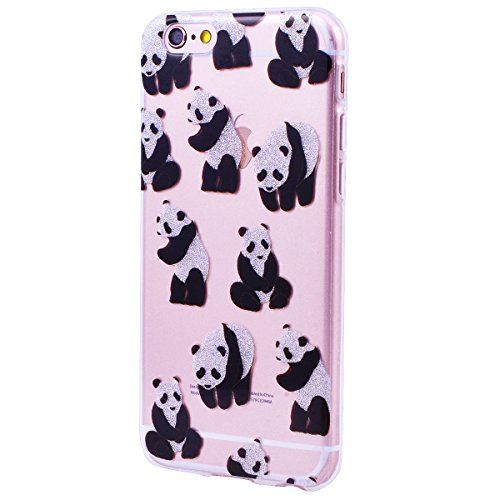 Coque iPhone 6 6S Silicone Étui, CE-Link Clair Souple TPU Housse Protecteur pour iPhone 6, Brillant Liquid Crystal Étui iPhone 6S, Transparent Doux Case Ultra Mince Premium High- Transparent Soft Couv Panda