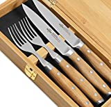 SteakChamp Premium Steakbesteck '4 Musketeer', Deutscher Carbonstahl (rostfrei), 2 Steakmesser und 2 Steakgabeln in...