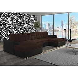 JUSThome Vento Sofá esquinero chaise longue Sofá de esquina función de cama Sofá-cama Tejido estructural Piel sintética (BxLxH): 165x365x81 cm Negro Marrón