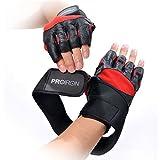 PROIRON Ultraleicht Fitness Handschuhe Trainingshandschuhe mit Adjustable Handgelenkstütze und Safe Geleinlage Silikon Palm für Krafttraining Gewichtheben und Bodybuilding Damen Herren (Rot, XL (8.7~9.4inch / 22~24cm))