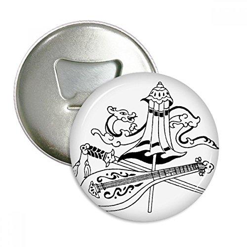 Chino Paraguas espada dragón dibujo redondo abridor de botellas nevera Imán Pins Badge botón regalo 3pcs
