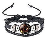 12 Sternzeichen Armband Glas Cabochon Horoskop Anhänger Silber Armschmuck Herren Armbänder Verstellbare Kette (Löwe)