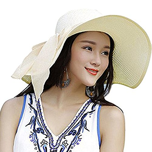 Uhren : Damen-bekleidung Weiß (DRESHOW Stroh Sommerhut mit Sonnen Shade Bogen UPF 50+ Schlaff Aufrollen Strand Sonnenblende Böhmen Sonnenhut Hut für Damen Weiß)