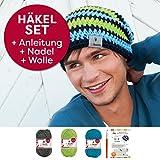 myboshi Häkel-Set Mütze | aus No.1 | Anleitung + Wolle | mit passender Häkelnadel IGA | anthrazit, Apfel, türkis