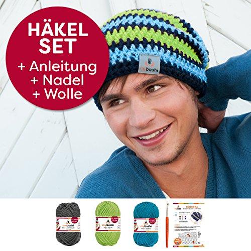 myboshi Häkel-Set Mütze   aus No.1   Anleitung + Wolle   mit passender Häkelnadel IGA   anthrazit, Apfel, türkis