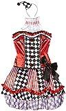 Fever, Damen Süßer Clown Kostüm, Korsett, Rock mit Unterrock, Kragen und Mini Hut, Größe: M, 41038