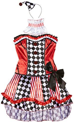 Clown Kostüm, Korsett, Rock mit Unterrock, Kragen und Mini Hut, Größe: M, 41038 (Süßes Clown-kostüm)