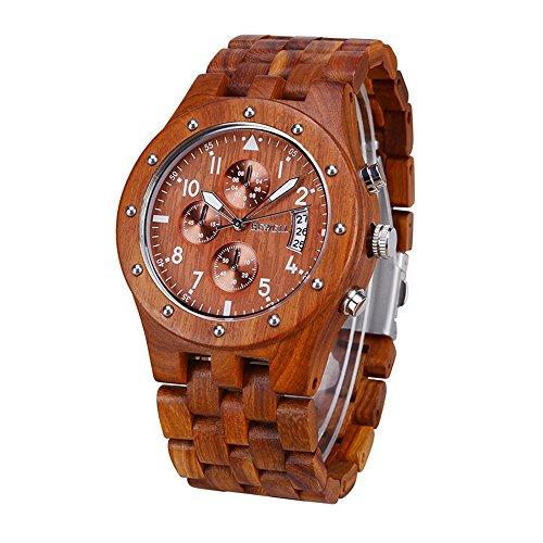BEWELL Herren Natur Hölzerne Uhr Multifunktionale Quartz Analog Armbanduhr mit Kalender Anzeige Chronograph-Funktion Hölzerne Armband für Männer(Rotes Sandelholz) -