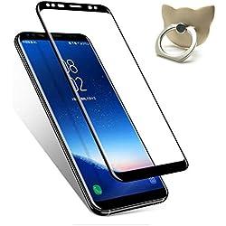 Char Verre de protection d'écran pour Samsung Galaxy S8, iooi clair HD Ultra Full Coverage 9H Dureté Anti Rayures Verre Verre de protection film de protection screen protector pour Galaxy S8Noir