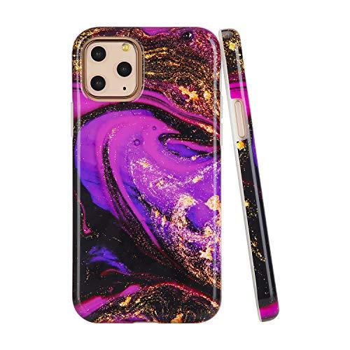 SunshineCases【Kompatibel: Apple iPhone 11 Pro】 schlanke, volle Hülle, süße Schutzhülle für Frauen und Mädchen, Fuchsia & Gold Geode