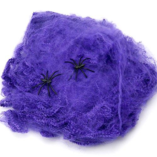 nnennetz Violette Dehnbare Spinnweben Dekoration mit Spinnen ()