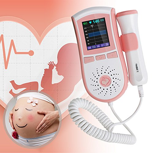CARESHINE Farb-LCD-Display Tasche Fetal Doppler Pränatales Herz Baby-Herzmonitor 3MHz Sonde Dual Interface Dis (Rosa) -