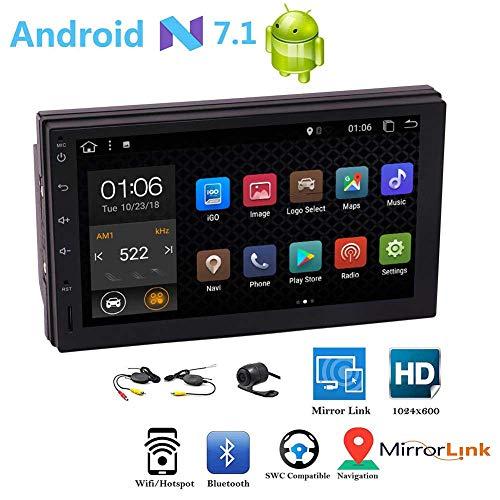 Drahtlose Rearview-Kamera Android 7.1 OS Doppel-DIN-Autoradio 7 Zoll GPS-Navigation Bluetooth WIFI HD 1024 * 600 Auflösung FM / AM RDS Radio-Multi Color Buttons SWC EQ Sprachen Autos Logo Wallpaper